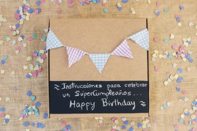 Caja decorada para cumpleaños