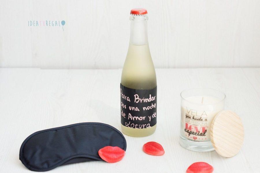 Vino Yllera con mensaje de amor, antifaz y vela aromatica