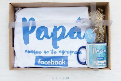 Caja con Camiseta y taza especial papá aunque no te agregue a facebook me gustas