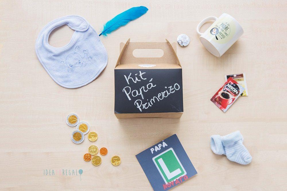 Caja picnic decorada y productos para papá novato