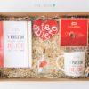 caja con Agenda, taza con amor y pasión , botella con mensaje, galleta de corazon te quiero y caja de bombones
