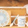Caja decorada para papá con taza y galletas de fondant